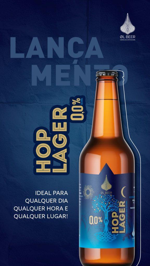 flyer de divulgação da Hop Lager 0 da OL Beer